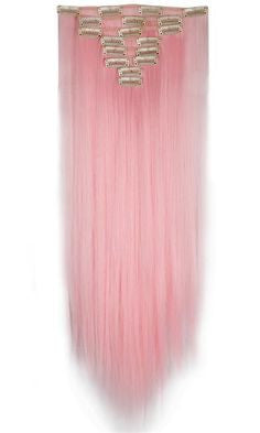Straight Clip In Extensions (Pink) - Low price cheap hair extensions