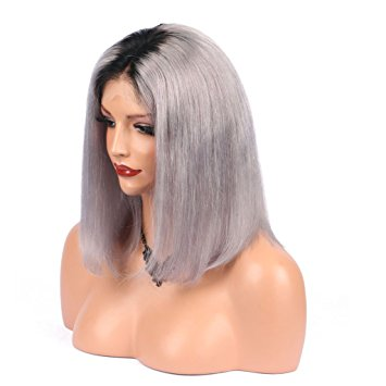 "Straight 1B/Silver Ombre Human Hair Wig (10"" - 16"") - Low price cheap hair extensions"