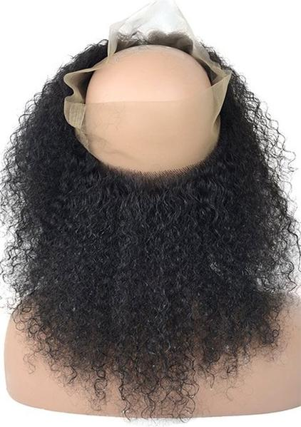 Afro Kinky Curly 360 Lace Base Frontal Closure (Natural 1B) - Low price cheap hair extensions