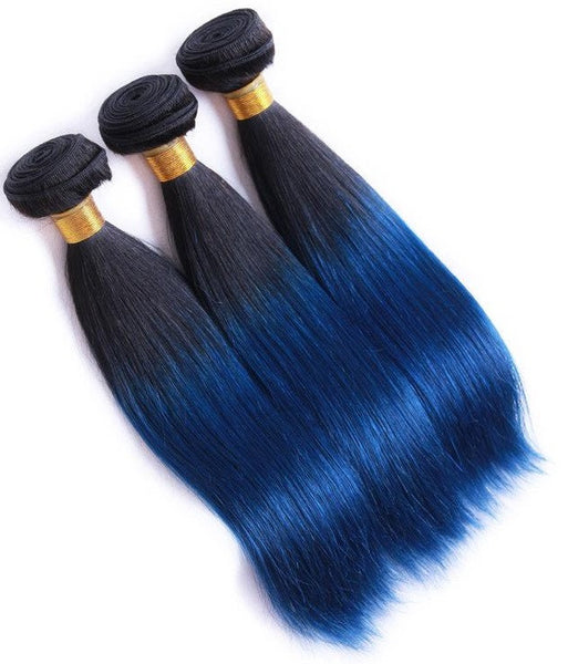 Straight Ombre Human Hair (Three Bundles) (1B/Blue) - Low price cheap hair extensions