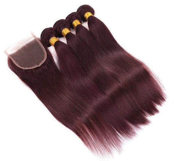 Straight Hair Three Bundles + Lace 4x4 Closure (99J) - Low price cheap hair extensions