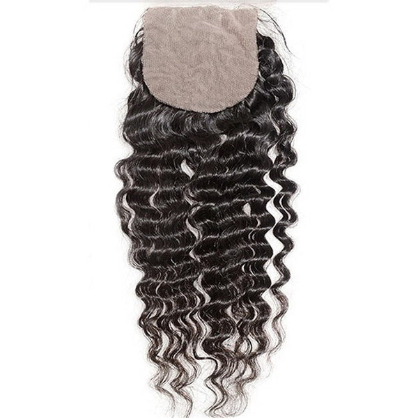 Deep Wave 4x4 Silk Base Closure (Natural 1B) - Low price cheap hair extensions