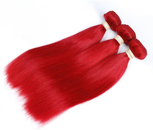 Straight Human Hair (Three Bundles) (Red)