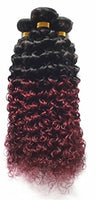 Kinky Curly Human Hair (Three Bundles) (1B/99J Ombre)