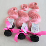 Ocean Body Wave Two Toned Ombre Weft Human Hair (Three Bundles) (#1B/Light Pink) - Best prices on human hair extensions
