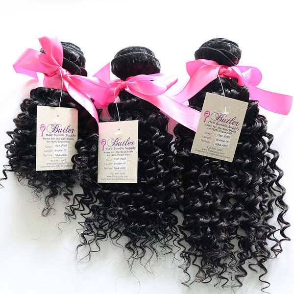 Kinky Curly Human Hair (Three Bundles) (Natural 1B) - Low price cheap hair extensions