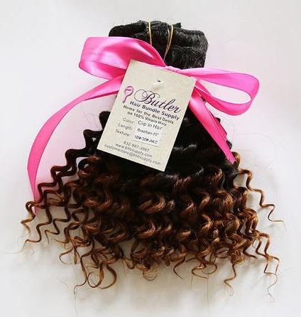 Kinky Curly Ombre Clip In Extensions (1B/30)