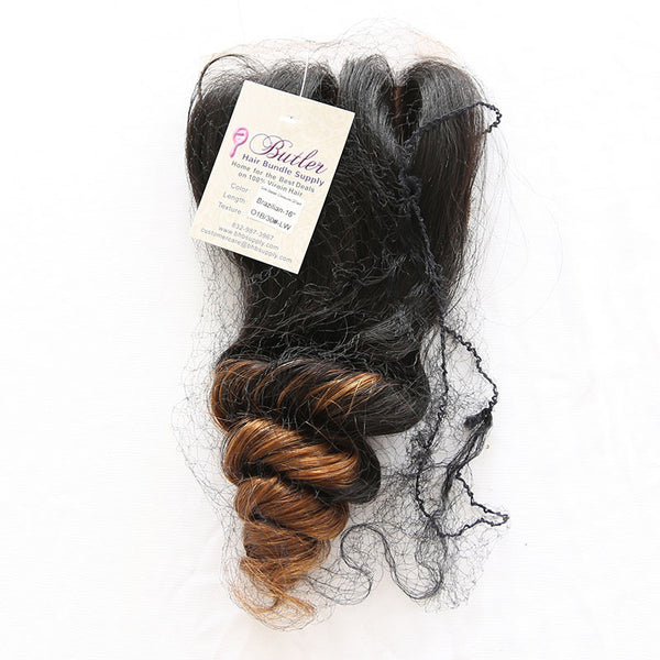 Loose Wave 4x4 Lace Base Ombre Closure (1B/30) - Low price cheap hair extensions