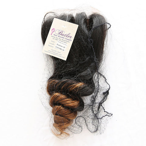 Luxurious Loose Wave 4x4 Closure Two Toned | Lace Base (#1B/30 Ombre) - Butler Hair Bundle Supply Reviews