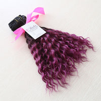 Deep Wave Ombre Human Hair (One Bundle) (1B/Fuchsia) - Low price cheap hair extensions