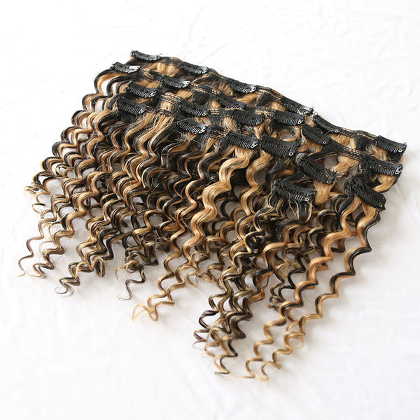 Exotic Kinky Curly Clip In Extension Two Toned #1B/27 Piano (One Bundle) (20 clips) - Butler Hair Bundle Supply Reviews