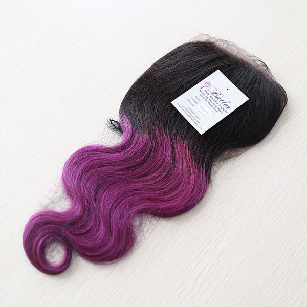 Ocean Body Wave 4x4 Closure Two Toned Ombre #1B/Fuchsia Purple (Lace Base) - Butler Hair Bundle Supply Reviews