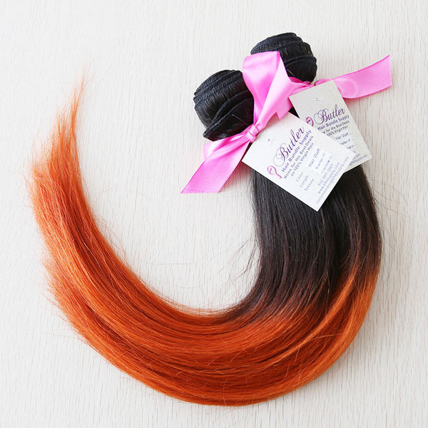 Sensual Silky Straight Weft Human Hair Two Toned Ombre (Three Bundles) (#1B/350) - Butler Hair Bundle Supply Reviews