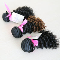 Kinky Curly Human Hair (Three Bundles) (1B/30 Ombre) - Low price cheap hair extensions