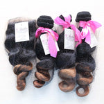 Loose Wave Ombre Three Bundles + Lace Closure (1B/30) - Low price cheap hair extensions