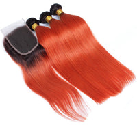 Straight Ombre Hair Three Bundles + Lace 4x4 Closure (1B/350) - Low price cheap hair extensions