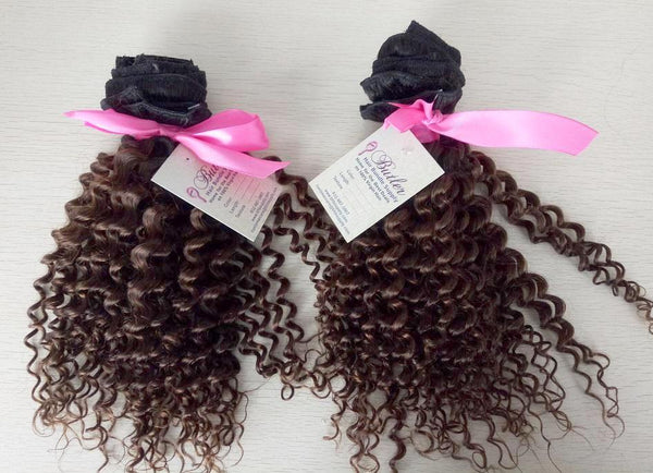 Kinky Curly Ombre Clip In Extensions (1B/4) - Low price cheap hair extensions