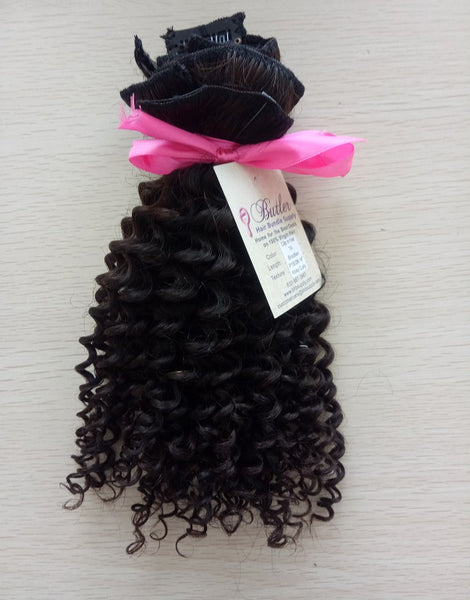 Kinky Curly Clip In Extensions (Natural 1B) - Low price cheap hair extensions