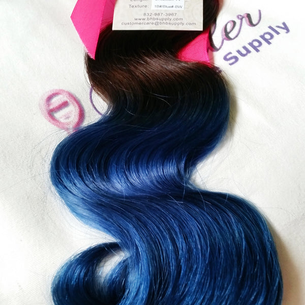 Body Wave Ombre Human Hair (One Bundle) (1B/Blue) - Low price cheap hair extensions