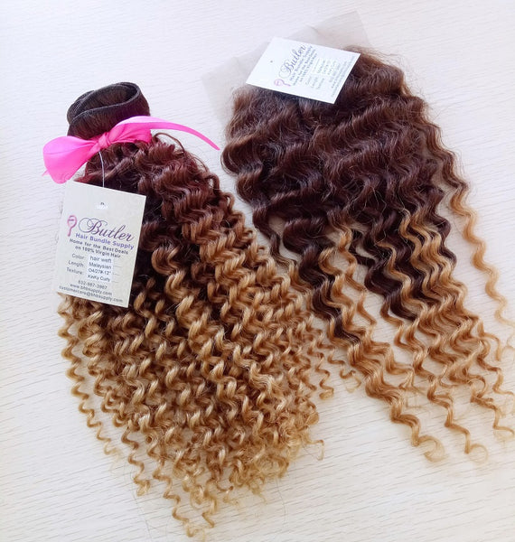 Kinky Curly Ombre Three Bundles + Lace 4x4 Closure (4/27) - Low price cheap hair extensions