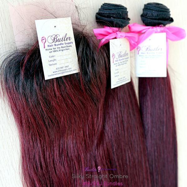 Straight Ombre Hair Three Bundles + Lace 4x4 Closure (1B/99J) - Low price cheap hair extensions