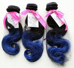 Body Wave Ombre Human Hair (Three Bundles) (1B/Blue) - Low price cheap hair extensions