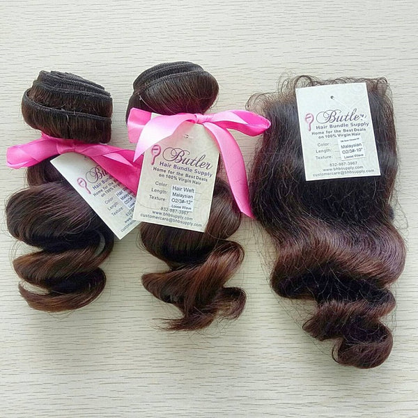 Loose Wave Ombre Three Bundles + Lace Closure (#2/3) - Low price cheap hair extensions