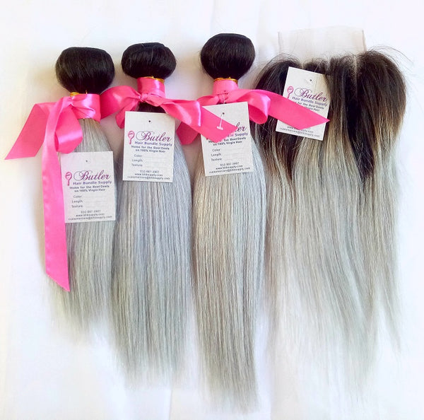 Straight Ombre Hair Three Bundles + Lace 4x4 Closure (1B/Silver) - Low price cheap hair extensions