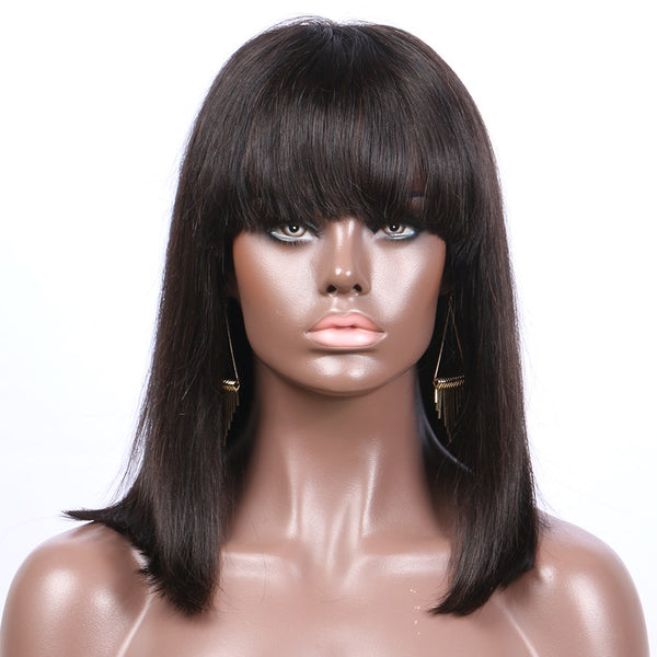 Straight Human Hair Wig w/ Bangs (Natural 1B) - Low price cheap hair extensions