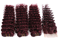 Deep Wave Three Bundles + Lace 4x4 Closure (99J) - Low price cheap hair extensions