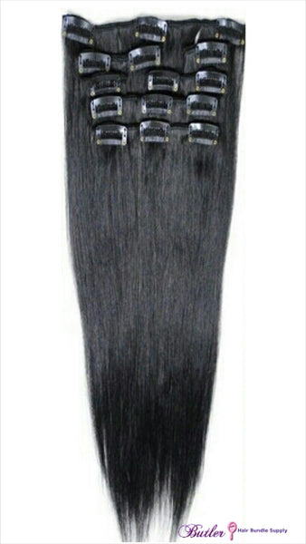 Sensual Silky Straight Clip In Extensions Natural #1B (One Bundle) (20 Clips) - Butler Hair Bundle Supply Reviews
