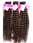 Deep Wave Human Hair (Three Bundles) (Brown #4) - Low price cheap hair extensions
