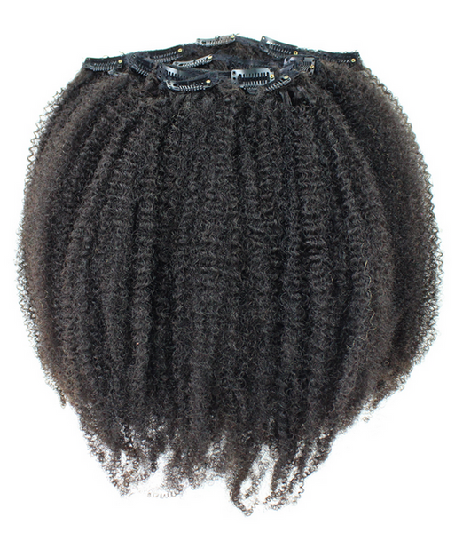 Afro Kinky Curly Clip In Extensions (Natural 1B) - Low price cheap hair extensions