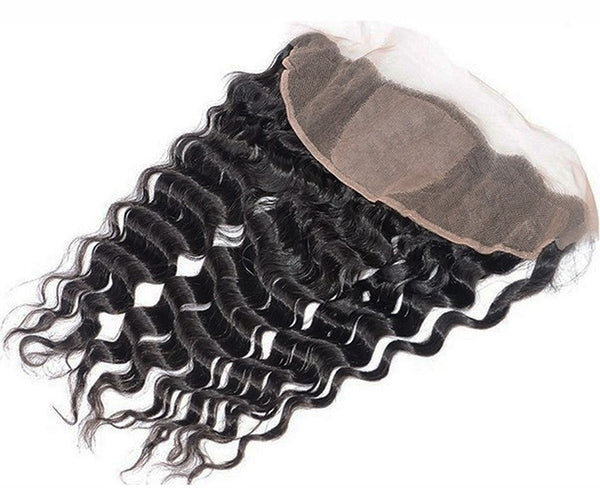 Deep Wave 13x4 Silk Base Frontal Closure (Natural 1B) - Low price cheap hair extensions