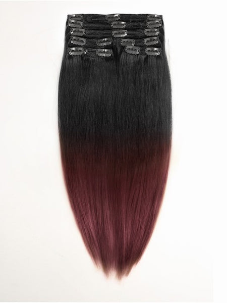 Straight Ombre Clip In Extensions (1B/99J) - Low price cheap hair extensions