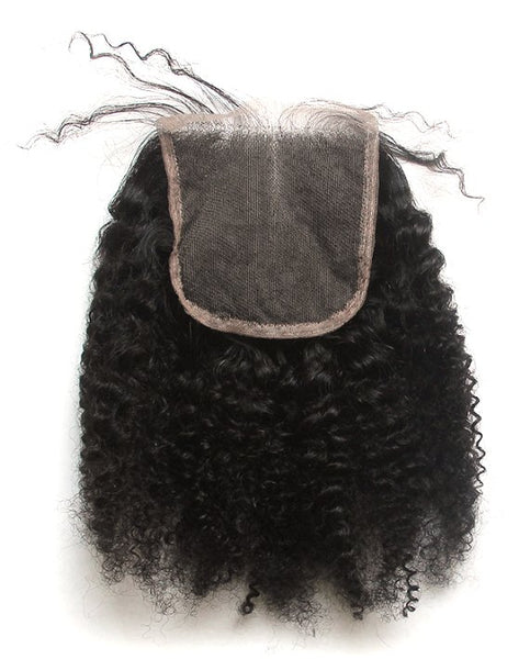 Afro Kinky Curly 4x4 Lace Base Closure (Natural 1B) - Low price cheap hair extensions