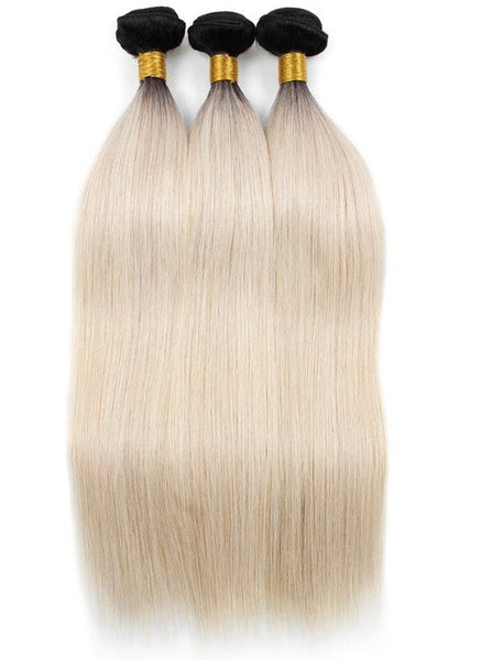 Straight Ombre Human Hair (Three Bundles) (1B/60) - Low price cheap hair extensions