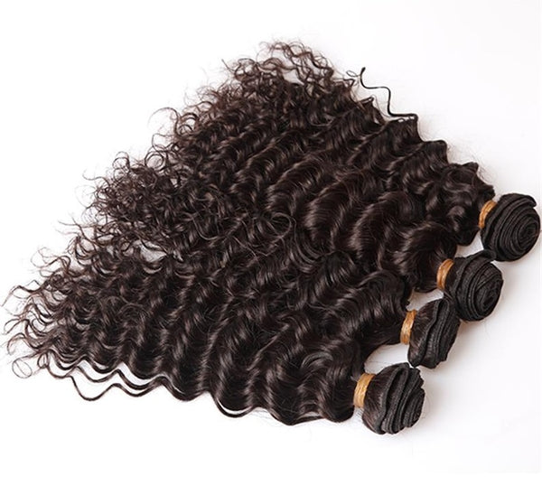 Deep Wave Human Hair (Three Bundles) (Dark Brown #2) - Low price cheap hair extensions