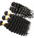 Deep Wave Three Bundles + Lace 4x4 Closure (Natural 1B)