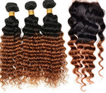 Deep Wave Ombre Three Bundles + Lace 4x4 Closure (1B/30) - Low price cheap hair extensions