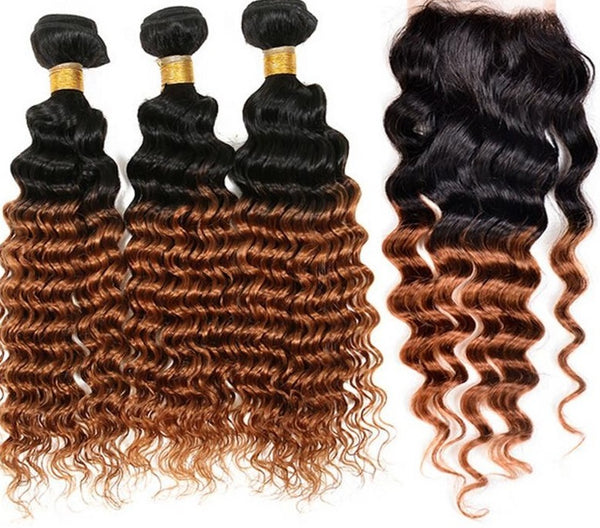 Deep Wave Ombre Three Bundles + Lace 4x4 Closure (1B/30)