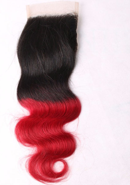 Body Wave 4x4 Lace Base Ombre Closure (1B/Red)