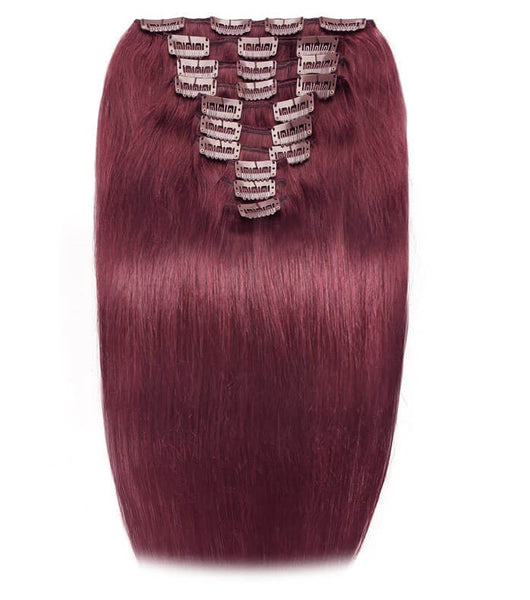 Straight Clip In Extensions (99J) - Low price cheap hair extensions