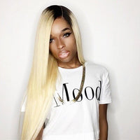 Straight Ombre Human Hair (Three Bundles) (1B/613) - Low price cheap hair extensions