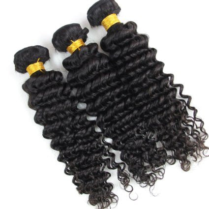 Deep Wave Human Hair (Three Bundles) (Natural 1B)