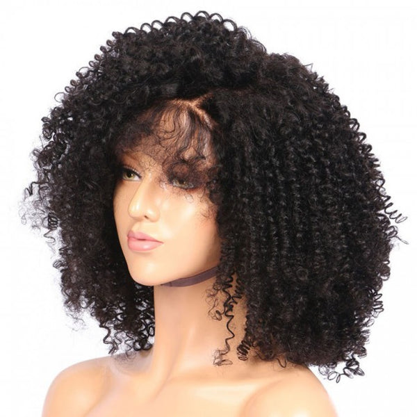 "Kinky Curly Natural #1B Human Hair Wig (10"" - 16"") - Low price cheap hair extensions"