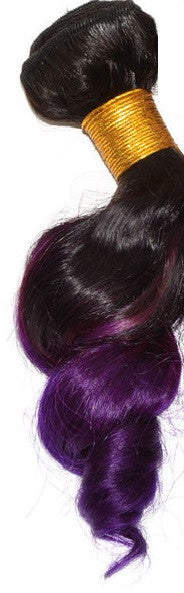 Loose Wave Ombre Human Hair (One Bundle) (1B/Purple)