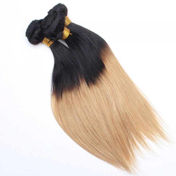 Straight Ombre Human Hair (Three Bundles) (1B/27)