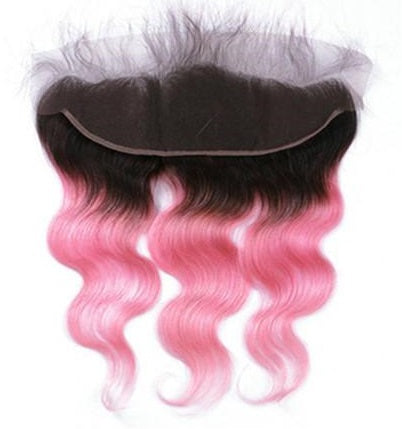 Body Wave 13x4 Lace Base Ombre Frontal Closure (1B/Light Pink) - Low price cheap hair extensions