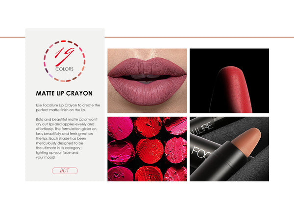 FOCALLURE Long Lasting Waterproof Matte Lipstick (19 Colors Available)